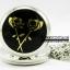 สร้อยคอนาฬิกาสีเงินเงาประดับลายกุหลาบสีดำ Black Rose Locket (พร้อมส่ง)