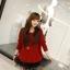 เดรสแฟชั่น2ชิ้นเสื้อตัวนอกแขนยาวสีแดงสด+เสื้อสายเดี่ยวสีดำแต่งระบาย3ชั้นด้วยผ้าตาข่าย thumbnail 2