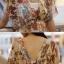 R.J.Lady เดรสแฟชั่น2ชิ้นเสื้อคอวีหน้า-หลัง ผ้าซีฟองลายกราฟฟิกดอกไม้โทนน้ำตาลตัวในเป็นเกาะอกยาวนะค่ะ thumbnail 7