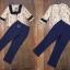 set เสื้อลายกราฟฟิก+กางเกงสีน้ำเงิน thumbnail 4