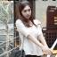 Chu ViViเสื้อผ้าแฟชั่นเกาหลี เสื้อแขนสามส่วนผ้าไหมพรมสีขาว thumbnail 3