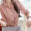 Chu ViVi เสื้อผ้าแฟชั่นเกาหลี แขนยาวคอปกลายริ้วสีแดง-ขาว thumbnail 5