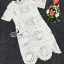 เดรสสั้นผ้าลูกไม้ซีทรูทอลายวินเทจประดับหมุดสีเงิน thumbnail 4