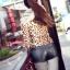 [Preorder] กางเกงหนังแฟชั่นขาสั้น สีดำ 2013 summer new Korean wild Slim was thin women PU leather shorts leather pants black primer thumbnail 4