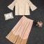 เซตเสื้อ+กางเกง ผ้าลูกไม้ เสื้อ คอV แต่งมุก thumbnail 5