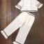 Set เสื้อสีขาว คอปกลายแขนระบาย+กางเกงขายาวสีขาว thumbnail 5